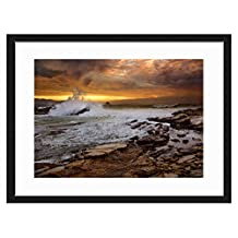 JKYUKO 16 Inch Black Wall Picture Frame Beautiful Scenery- Made to Display Pictures 8x12 with Mat or 12x16 Without Mat