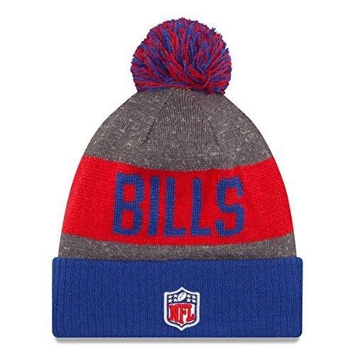 02fc34c0e25 Amazon.com   New Era Knit Buffalo Bills Blue On Field Sideline Winter  Stocking Beanie Pom Hat Cap 2015   Sports   Outdoors