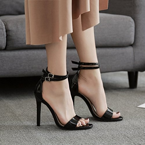 Ankle Heels Heels Bridle Scarpe Unknown Open donna Stiletto eleganti High Pumps Buckle nero AC0xwqZg