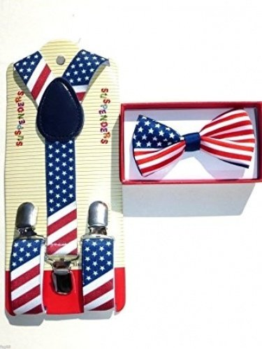 Baby Suspenders and Bow Tie Set (Elastic Adjustable--Fits Baby to Toddler) (American Flag) for $<!--$7.49-->