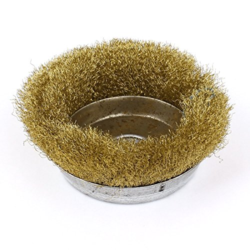 uxcell 9cm Dia Brass Crimped Wire Cup Wheel Rust Removal Cleaning Brush (Brass Brush Cup)