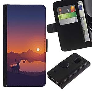 NEECELL GIFT forCITY // Billetera de cuero Caso Cubierta de protección Carcasa / Leather Wallet Case for Samsung Galaxy S5 V SM-G900 // Estimado Sunset