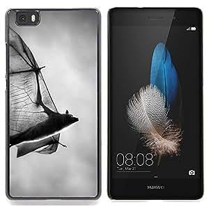 """For Huawei Ascend P8 Lite (Not for Normal P8) Case , Bat de Halloween Scary Negro Blanco Drácula"""" - Diseño Patrón Teléfono Caso Cubierta Case Bumper Duro Protección Case Cover Funda"""