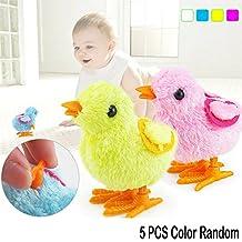 5 Pcs Fuzzy Chick Plush Stuffed Toy Hopping Wind Up Toy Clockwork Chain Chicken