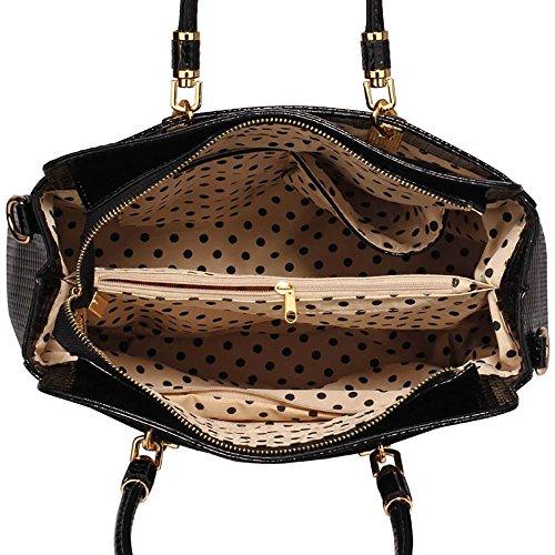 Bag Black Handbag Design Shoulder Womens OfficeFashion Large Designer 1 Patent Ladies Snakeskin TwqUXX