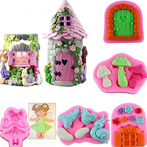 Youzpin 5Pc 3D Fairy House Silicone Lace Fondant Molds, 3D DIY Cake Moulds Sweet Candy Chocolate Making Mold Cake Clay Mold Fondant Cake Sugarcraft Decorating Supplies Fondant Cake Baking Mold RANDOM - Kitchen Fairy Candy