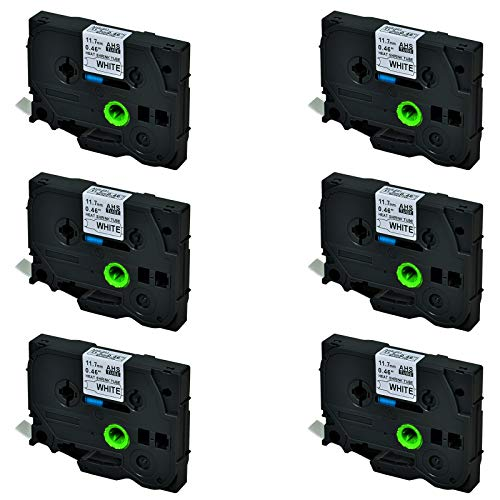 SuperInk 6 Pack Compatible for Brother HSe-231 HSe231 HS-231 HS231 Black on White Heat Shrink Tube Label Tape use in PT-D210 PT-D400 PT-E300 PT-E500 PT-P750WVP Printer (0.46x 4.92ft,11.7mm x 1.5m)