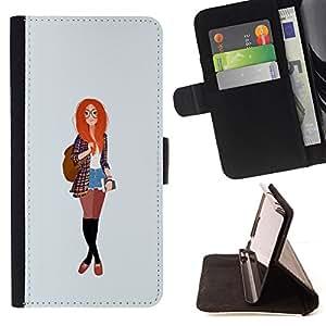 BullDog Case - FOR/Samsung Galaxy S4 IV I9500 / - / redhead smart hipster feminist education /- Monedero de cuero de la PU Llevar cubierta de la caja con el ID Credit Card Slots Flip funda de cuer