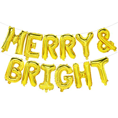 Merry and Bright Balloon Banner - Christmas Party Decorations Gold - Holiday Home Decor Sign - 16inch (Be Bright Be Merry)