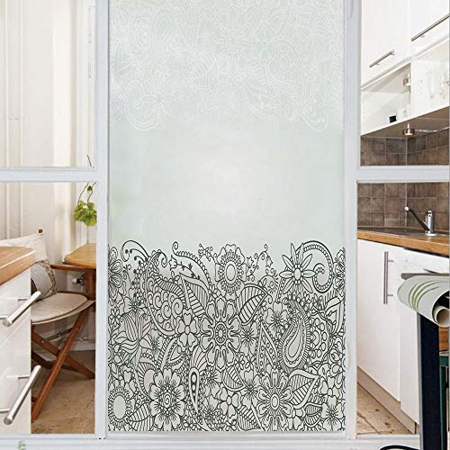Decorative Window Film,No Glue Frosted Privacy Film,Stained Glass Door Film,South Asian Body Paint Design Floral Arrangement with Various Wildflowers and Leaves Decorative,for Home & Office,23.6In. by