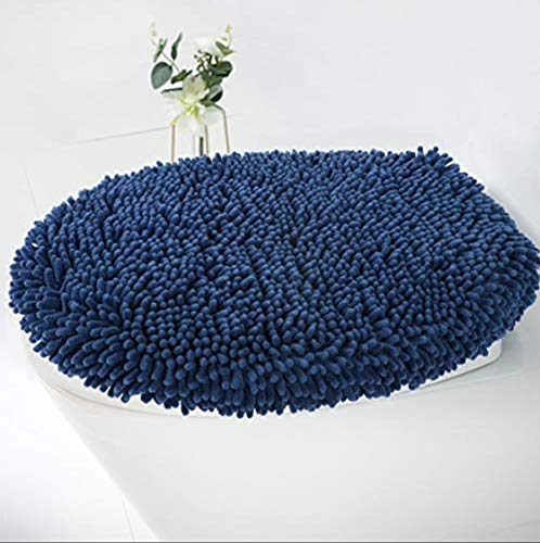 MAYSHINE Seat Cloud Bath Washable Shaggy Microfiber Standard Toilet Lid Covers for Bathroom -Dark Blue
