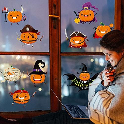 MIARHB Cute Pumpkin Wall Stickers Window Decor Wall Decals Bedroom Living Room Home Decoration Halloween Party Festival Gift (A) ()