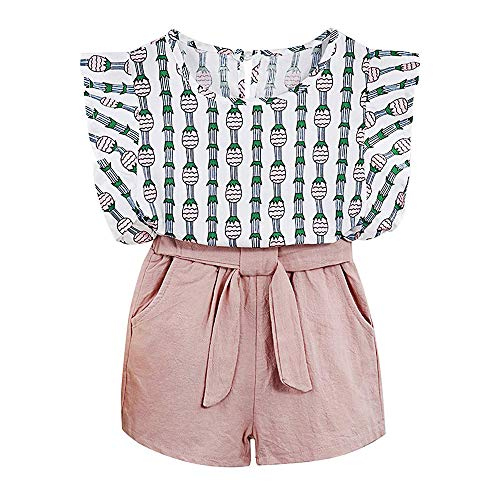 Baby Clothing Kids Summer Clothes Girls Flower Printing Vest + Pure Color Pants Children Clothing Set (Pink-c, 6T)]()