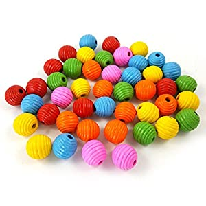 Wildgirl Parrot Bird Toy Multicolor DIY Accessories Wood Blocks Beads 50pcs (20mm Bead) 28