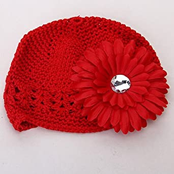 4d7dd2204f2 Generic Cotton Baby Girl s Floral Crochet Beanie Cap (Red)-Pack of 2   Amazon.in  Clothing   Accessories