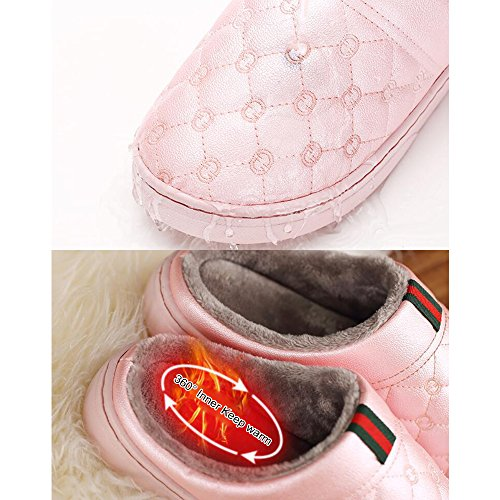 Eastlion Women's & Men's PU Anti-Skid Keep Warm Waterproof Indoor Slipper Shoes with Plush Inner Black HHRwv