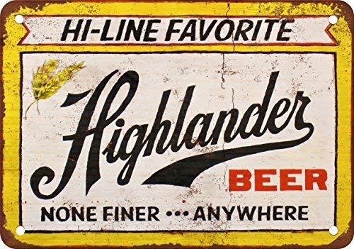 FemiaD Highlander Beer Vintage Look Reproduction Metal Tin Sign 12X8 inches - Highlander Beer