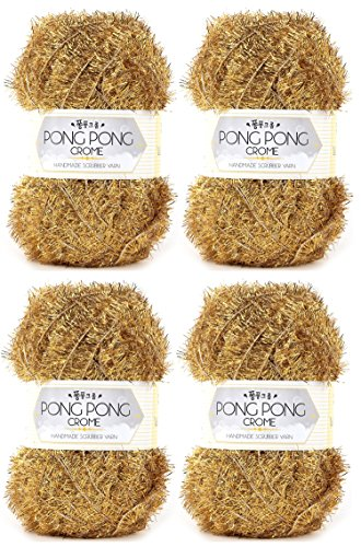 PONGPONG CHROME Crochet Scrubby Yarn, Gold (4 skeins)
