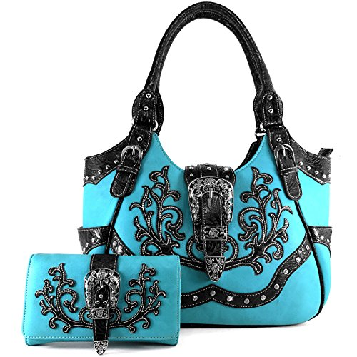 (Justin West Tooled Laser Cut Leather Floral Embroidery Rhinestone Buckle Studded Shoulder Concealed Carry Tote Style Handbag Purse (Turquoise Purse and Wallet Set))