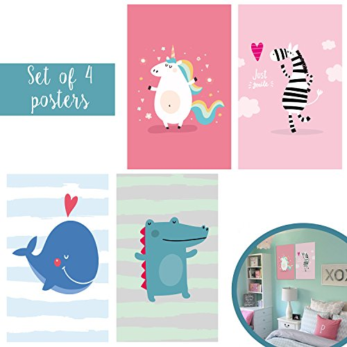 Matching Set Of Four 11X17 Cute Animal Art Prints for Kids - Children's Unicorn Zebra Whale Crocodile Bedroom and Playroom Decor with Included Double Sided Mounting - Me Outlet Vs Near