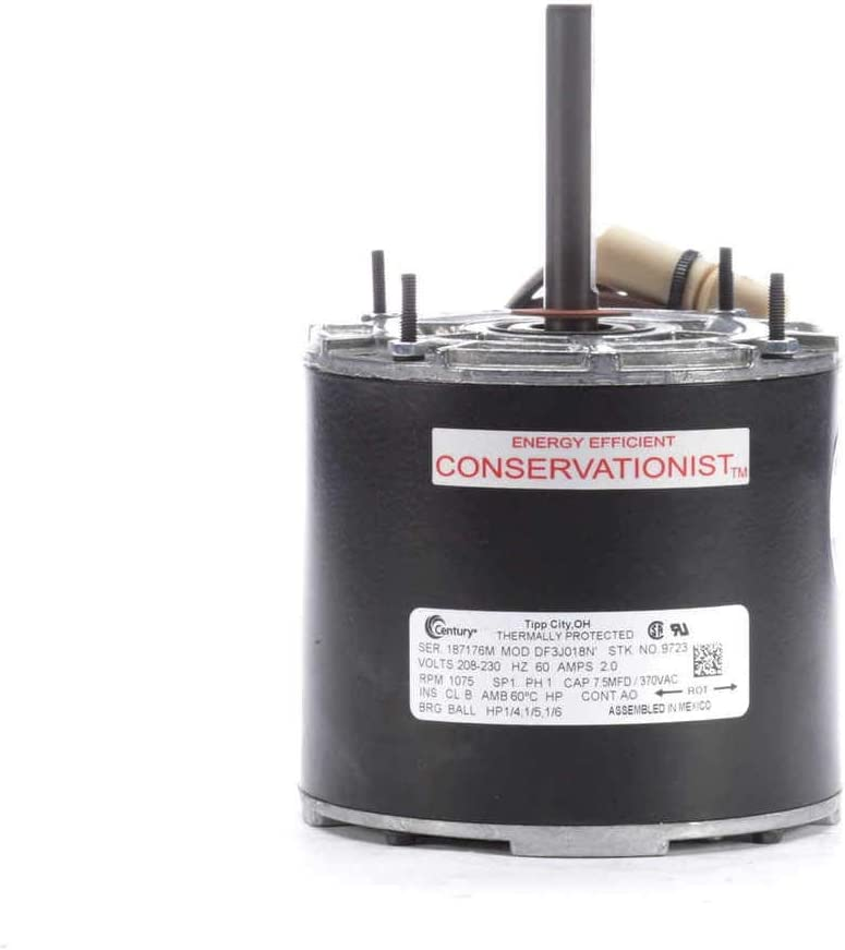 "Condenser Fan Motor 5"" Diameter Multifit 1/4, 1/5, 1/6 hp; 1075 RPM 230V Century # 9723 by Century Electric Motors"
