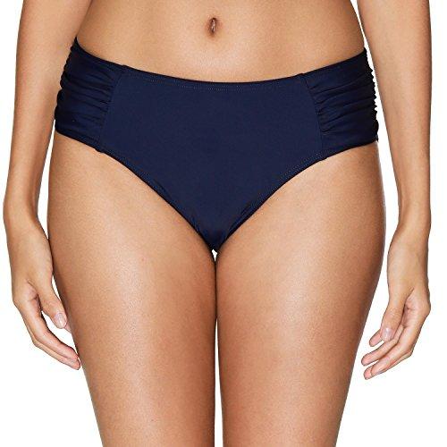 - Vegatos Women Mid Rise Swim Bottoms Side Ruched Bikini Brief Beach Bottom Navy S
