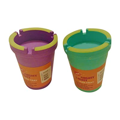 2 PK ASHTRAY ASSORTED NEON COLORS - STUB OUT GLOW IN THE DARK CUP - SELF EXTINGUISHING CIGARETTE ASHTRAY - BUTT BUCKET - PORTABLE ASHTRAY: Home & Kitchen
