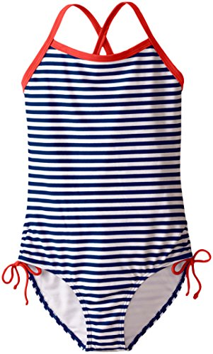 Kanu Surf Big Girls' Bali Beach Sport Banded One Piece Swimsuit, Navy Stripe, 10