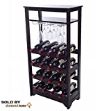 16 Bottle Wine Racks Free Standing Floor Unit, with a Table Top for Serving and Storage Space Below! This Vertical Espresso Wine Rack Is Modern and Stylish! For Sale