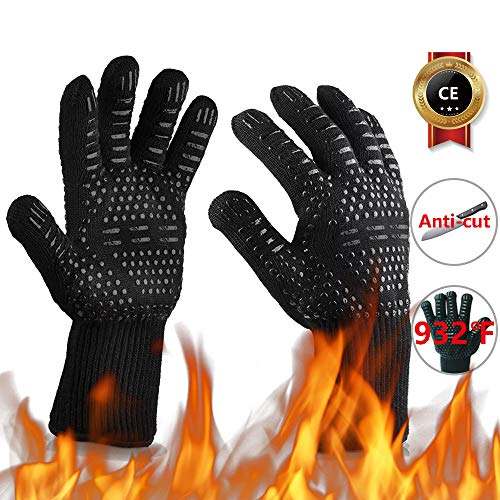 Oven Gloves 932°F Heat Resistant with Fingers