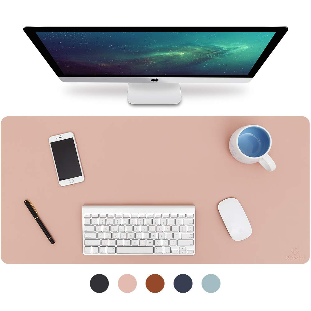 Knodel Desk Pad, Office Desk Mat, 35.4'' x 17'' PU Leather Desk Blotter, Laptop Desk Mat, Waterproof Desk Writing Pad for Office and Home, Dual-Sided (Pink/Silver) by K KNODEL