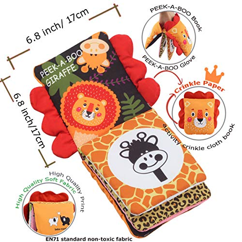 Baby Soft Cloth Book,Infant Baby Toys 6 12 Months,Touch and Feel Crinkle Peek A Boo Forest Animal First Book for Babies 1 Year Old,Newborn,Toddlers,Kids,Boy&Girl,Crinkle Baby Toy,Blackwhite(Lion King