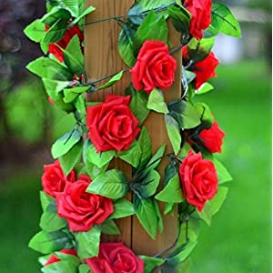 1PCS Artificial Silk Rose Flower Ivy Vine Leaves Garland Hanging Flower Wedding Party Home Garden Decor 8