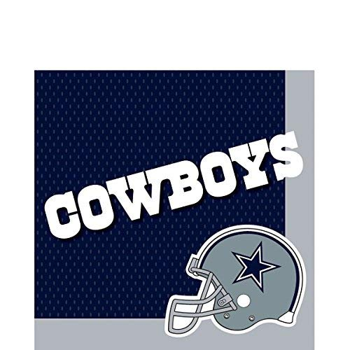Amscan Dallas Cowboys NFL Football 13in Luncheon Napkins, Blue White, 16 CT