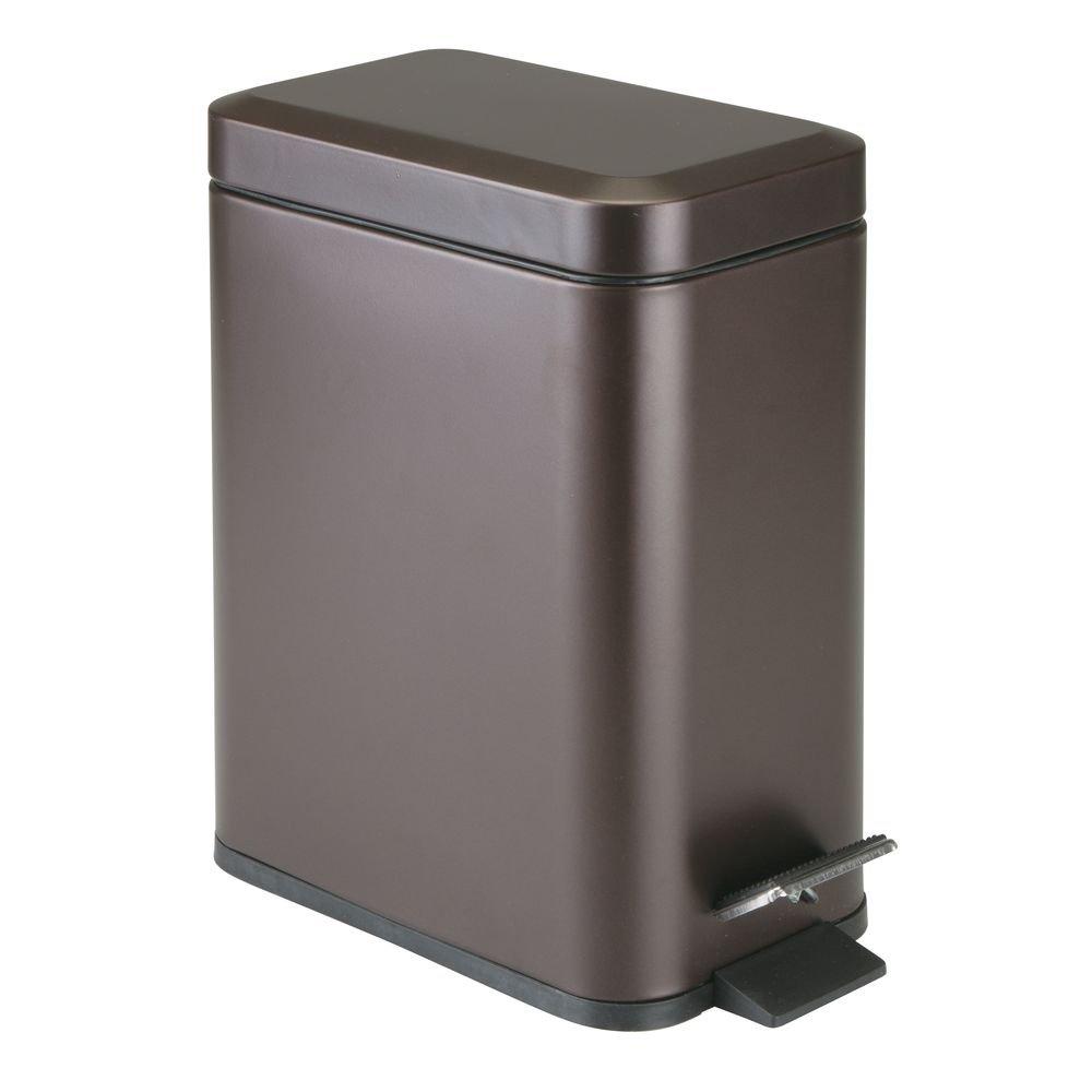 mDesign 5 Liter Rectangular Small Steel Step Trash Can Wastebasket, Garbage Container Bin for Bathroom, Powder Room, Bedroom, Kitchen, Craft Room, Office - Removable Liner Bucket - Bronze by mDesign
