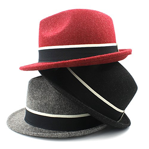 (Dig dog bone Fedora Hats for Men Wool Gangster Trilby Fedora Hat with Black and White Stripe (Color : Red, Size : 57-58cm))