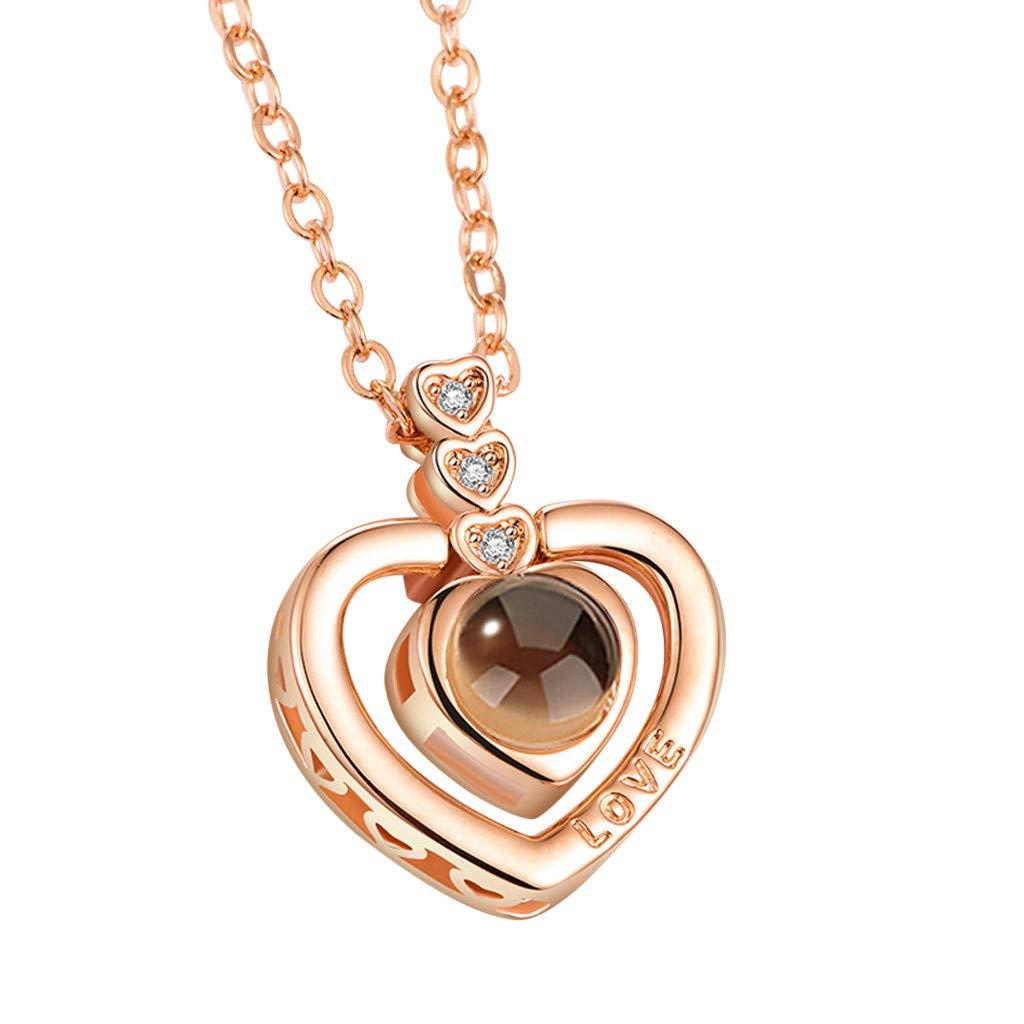 Zarupeng ♥♥♥♥ Señoras 100 Idiomas I Love You Colgante con Adornos incrustados de Diamantes Memoria Collar de proyección Joyas Regalo para el día de San Valentín