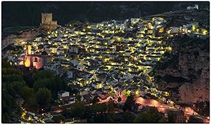 Casas Ciudades noche Castilla Albacete España viaje sitios postal Post tarjeta: Amazon.es: Oficina y papelería