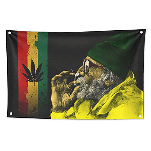 KINO Homie Jamaica Reggae Style Weed Marijuana Leaf Decorative Tapestry Rasta Flag Bar Club Tattoo Shop Banner Wall Hanging Cannabis Fabric Poster by KINO Homie