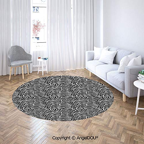 - AngelDOU Chair Floor Mat Round Cloakroom Carpet Animal Print Zebra Pattern Fashionable Trendy Decorating Illustration Decorative for Home Printed Area Rug.