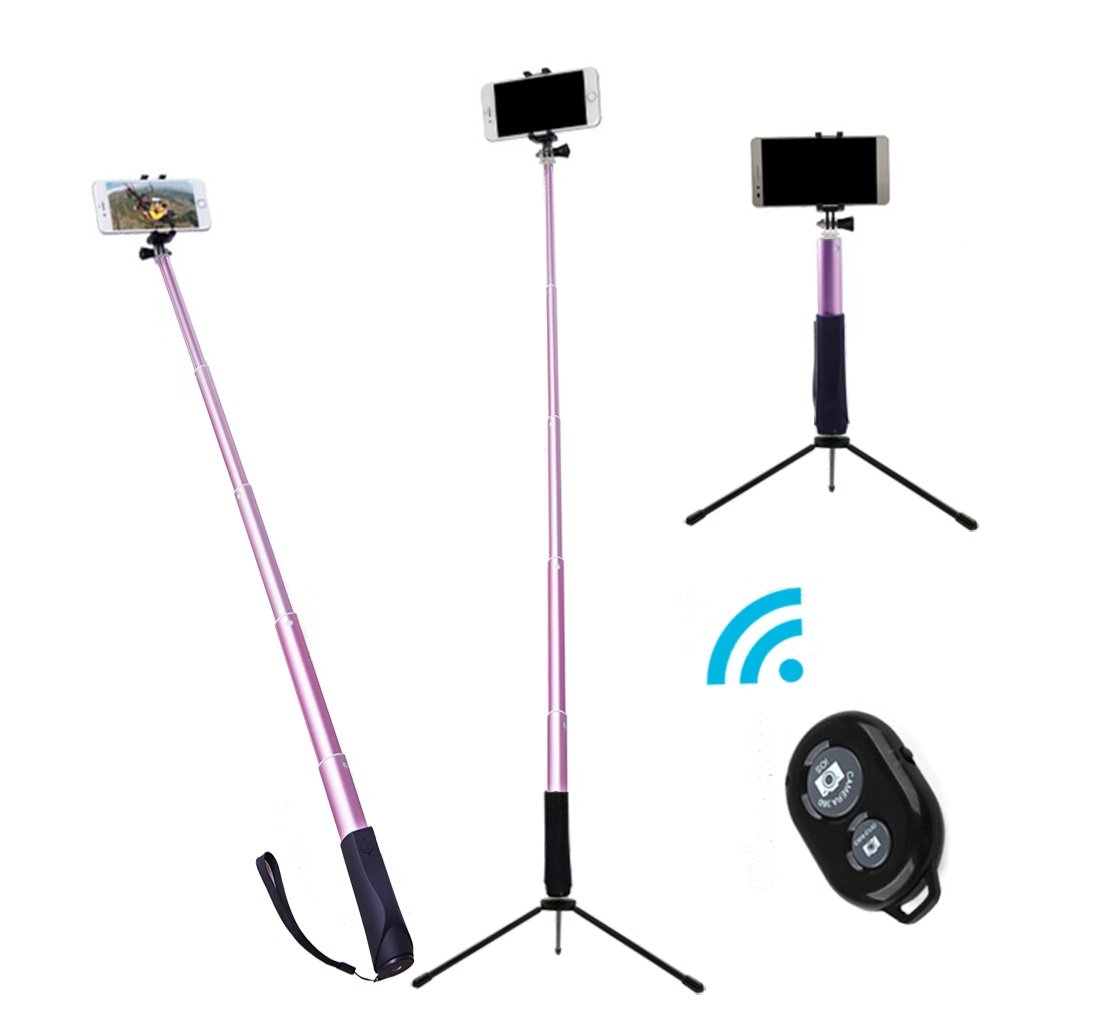 ZIZON Bluetooth Selfie Stick,Extendable Aluminum Monopod with Tripod Stand, Built-in Shutter Button, Foldable Mount Clamp & GoPro Adapter for iPhone/Android Smartphones and Action Camera. (Pink)