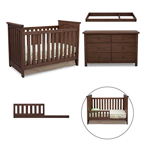 Serta 4-Piece Nursery Furniture Set including Crib, 6 drawer Dresser, Changing Top and Toddler Converting Guardrail/Daybed Rail, Rustic Oak