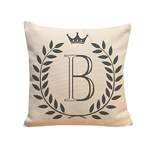 Iuhan Fashion Letters Pattern Cotton Linen Cushion Cover Throw Pillow Case Sofa Home Decor (B) - Industrial Letter B
