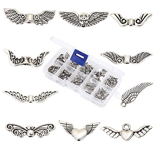 (HYBEADS 100Pcs Assorted 10 Styles Tibetan Silver Angel Wing Spacer Charm Beads for Jewelry Making Findings Value Pack Mix Lot with Container)