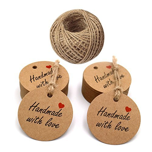 (Handmade with Love Tags,100 PCS Handmade Round Kraft Gift Tags with 100 Feet Jute Twine(4.3 cm)