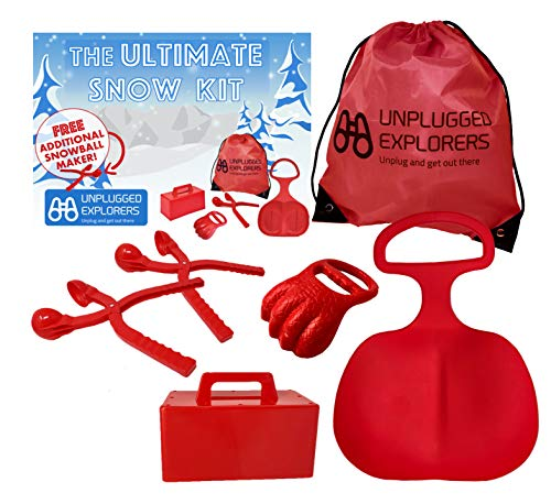 Unplugged Explorers 6 pc. Ultimate Snow Toys kit, Winter Sports- 1 Red Sled, Snow Brick Maker, Snow Digger Snow Mold, 2 Snowball Makers 1 Free 1 Oversized Winter Toys Storage