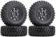 INJORA Micro Beadlock Wheel & Tires Set for 1/24 RC Crawler Axial SCX24 90081 Deadbolt Chevrolet C10 B