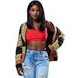 Product review for Women's Long Sleeve African Print Dashiki Zip-Up Short Biker Bomber Jacket Outwear Coat