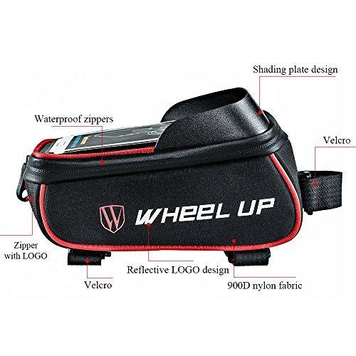 Bike Waterproof Front Tube Frame Bag with 6 Inch Touch Screen Cycling Phone Case WHEEL UP 900D Nylon Reflective Handlebar MTB Cycling Panniers for Riding Outdoor Activities