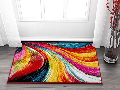 Aurora Multi Red Yellow Orange Swirl Lines Modern Geometric Abstract Brush Stroke Area Rug 2x4 ( 18 x 27 ) Easy Clean Stain Kitchen Entryway Doormat Contemporary Painting Art Stripe Thick Plush